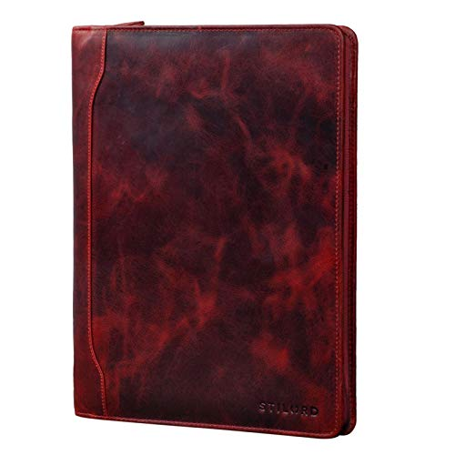 STILORD 'Arvid' Vintage Conference Folder Leather Business Map A4 Punched Pad Portfolio Document Folder for 13,3 MacBooks, Colour:Kara - red