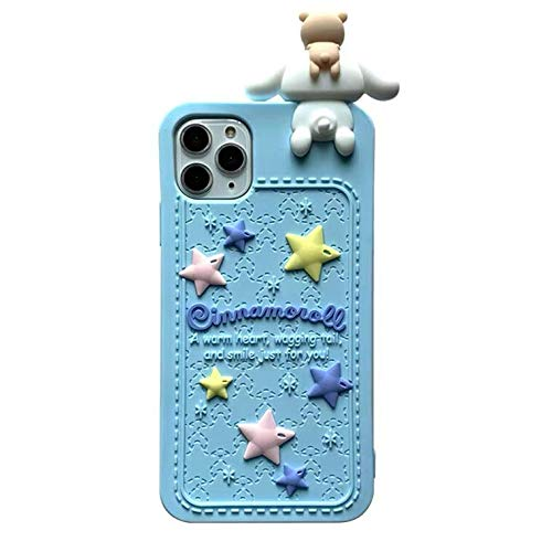 Thick Shockproof Soft Silicone Phone Case for Apple iPhone 12 Mini 12Mini White Dog Puppy Doll Blue Color Japanese 3D Cartoon Character Shockproof Cute Lovely Fun Funny Kids Girls Women Boys