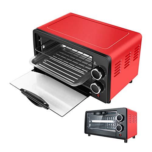 Haushalt Elektro-Ofen 12L Kleine Kuchen-Backen-Ofen Multifunktionale Desktop-Pizza Brotbackautomaten, Rot (Farbe : Rot)