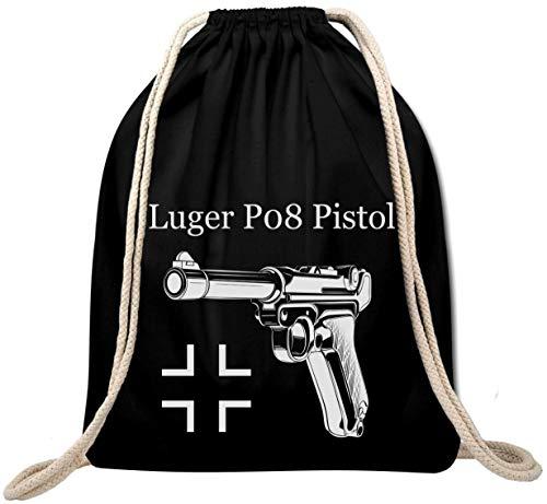 Ekate Luger P08 Pistol Handgun Germany Wehrmacht Turnbeutel Rucksack Gym Bag Backpack (Schwarz)