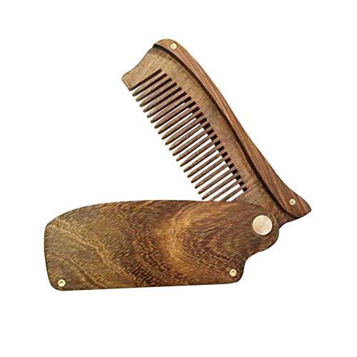 HEALIFTY Plegable Peine de madera de sándalo negro antiestático Peine de pelo...