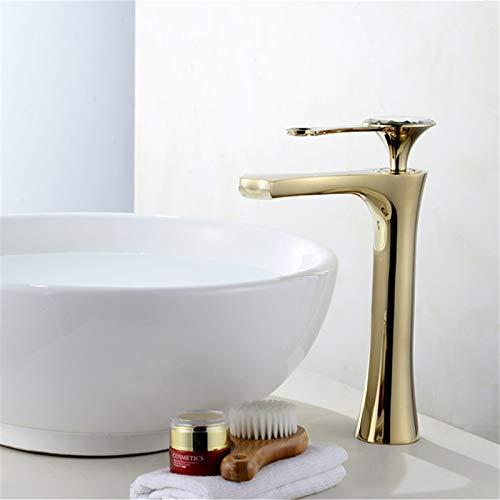 YHSGY Küchenarmatur Waschtischarmaturen Messing Wasserhahn Einlochmontage Einhandmischer Waschtischarmatur Wasserhahn Kristall Griff Rose Gold/Gold Mischbatterie