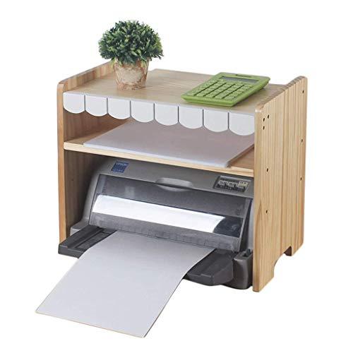 Estante de madera maciza para impresora Estante de almacenamiento de mesa de escritorio Estante de archivo de escritorio de oficina Estante de almacenamiento de escombros de múltiples capas Decoració