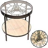 TIENDA EURASIA® Mesa de Centro Auxiliar - Diseño Vintage - Reloj Mecanico con Movimiento - Medida Ø 51 cm x H 49 cm