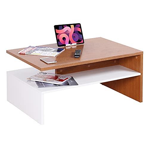 RICOO WM080 W-ER Mesa Centro salón 90x42x60cm Mueble Auxiliar para Salon Rectangular Diseño Moderno Decorativo Madera Color Roble rústico