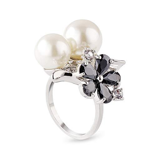 Ai.Moichien Perlas De Agua Dulce Anillos De Mujer Diamantes De Imitación Flor...