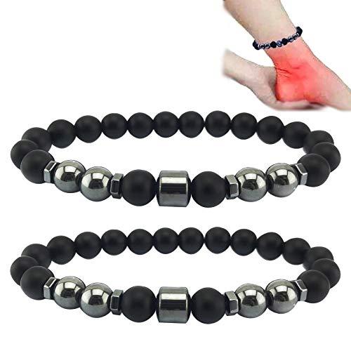 HAOYUGO Anti-Swelling Black Obsidian Anklet,Anti-Schwellungs Magnetische Fußkette aus Schwarzem Obsidian (E)