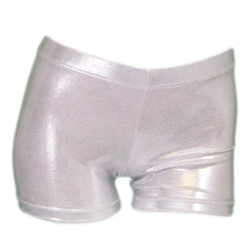 ZIZI Baby Girls' Sparkle Dance Tumbling Athletic Gymnastics Silver Short 4T, 100CM(3-4Years)