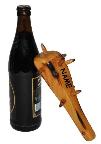 alles-meine.de GmbH Bier Flaschenöffner  Keule  aus Holz / Bieröffner - incl. Namen - Öffner Männer Geschenk Männertag - Korken Flaschenkorken Kronkorken - Küche lustig Urmensc