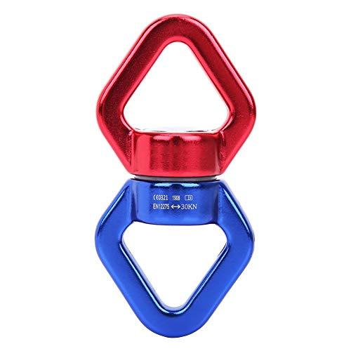 Alomejor Conector Fijo de Escalada de Roca de 30 KN de aleación de Aluminio con Anillo de conexión Giratorio de Seguridad para Escalada al Aire Libre, Yoga, etc, Azul y Rojo.