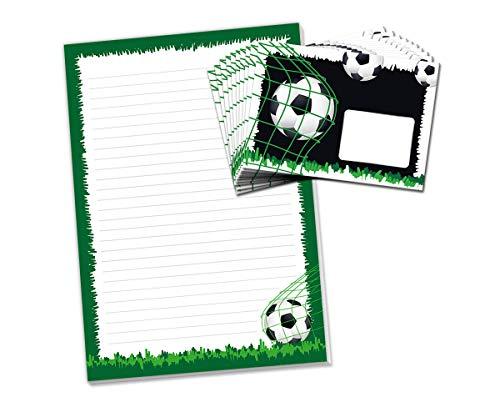 Briefblock mit Umschlag Fussball Fußball für Kinder Briefpapier-Set (Block A4 mit 25 Blätter + 15 Umschläge)