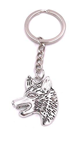 H-Customs Llavero de Cabeza de Lobo Animal Colgante Plata Metal