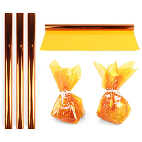Clear Yellow Cellophane Gift Wrapping (17 in x 10 Feet, 4 Pack)