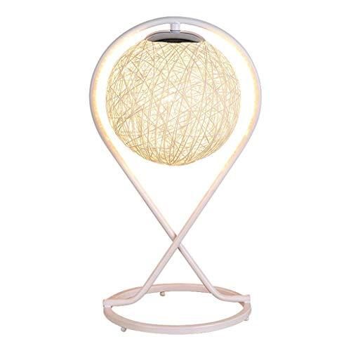 Luz Nocturna Lámpara de mesa de hierro romántica de la manera lámpara de cabecera del dormitorio Rattan Ronda de Noche de Luz Salón Dormitorio Estudio lámpara de escritorio 16,5 pulgadas Dormitorio y