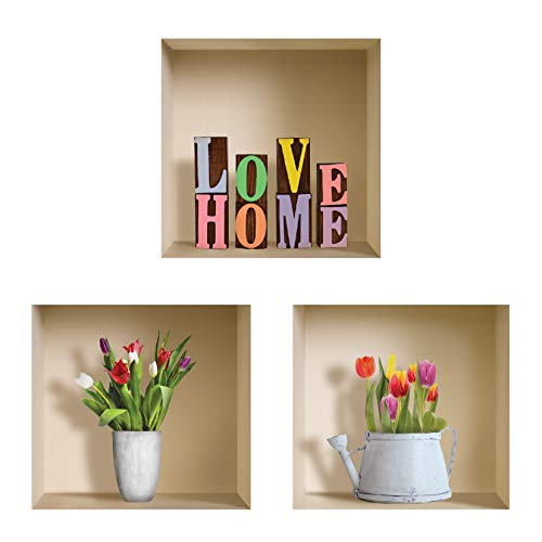 The Nisha Art Adesivi 3D Magici da Muro in Vinile Sticker Decalcomania Fai-da-Te, Set da 3, Colorful Love Home