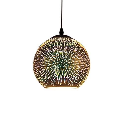 3D Colorful Fireworks Pendant Light Creative Modern Glass Lampshade Hanging Chandelier Light Edison E27/E26 Ceiling Light Fixture for Kitchen Loft Office Restaurant