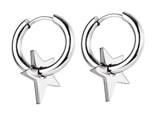 X/L Pendientes de aro unisex con diseño de estrella de acero inoxidable, estilo punk hip-hop, con bisagras para hombres y mujeres