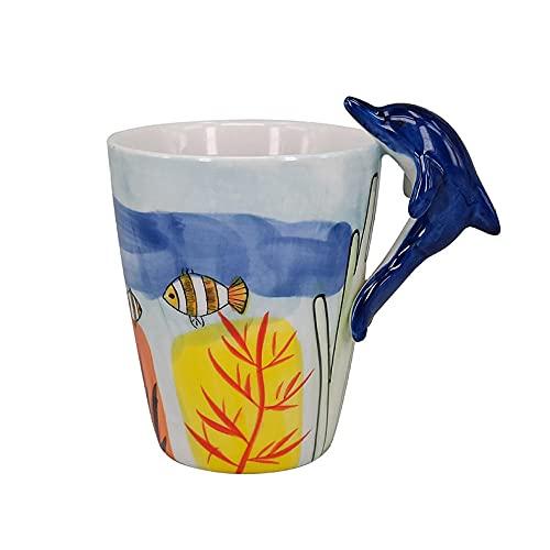 XXJJZON Taza de café de cerámica Fuerte y Duradera-Linda Taza de cerámica con Mango de delfín Personalizada Forma Tridimensional underglaze 3D Cup Event Souvenir Breakfast cup-301-400ml