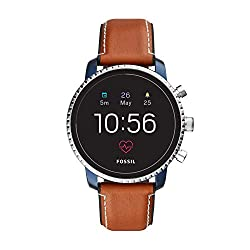 Fossil Men's Gen 4 Explorist HR Heart Rate Stainless Steel and Leather Touchscreen Smartwatch, Color: Brown (Model: FTW4016),Fossil,(Model: FTW4016)