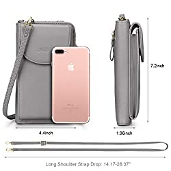 S-ZONE PU Leather RFID Blocking Crossbody Phone Bag for Women Cellphone Wallet Purse Pouch (Dark Grey RFID Blocking)
