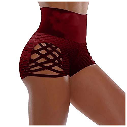 XOXSION Pantalones cortos de jogging para mujer, de verano, de cintura alta, elásticos, ligeros, para el tiempo libre, fitness, color vino, talla L