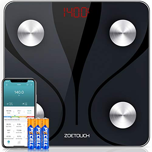 ZOETOUCH Scales for Body Weight and Body Fat Digital Smart Bathroom Scale,BMI,Bluetooth, Body Composition Analyzer,14 Measurements,Cloud Storage, Data Export, 400 lbs