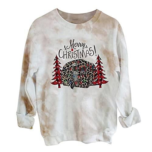 Womens Merry Christmas Plaid Tree Print Raglan T-Shirt Pullovers Tie Dye Long Sleeve Tops Tees Blouses Holiday Shirts