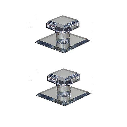 Mirart Pull Handle, Self Stick Small Square Acrylic Mirror Beveled Knob (2 Pack)