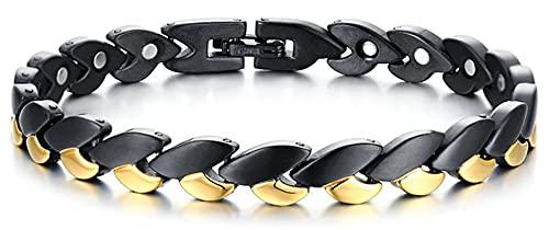 AmDxD Armband, Kette Edelstahl Armband Herren aus Titan Stahl, für Männer-Armband, Schwarz Gold