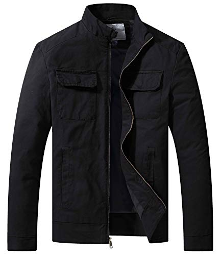 WenVen Men's Fall Cotton Canvas Lightweight Casual Military Jacket, Black,L