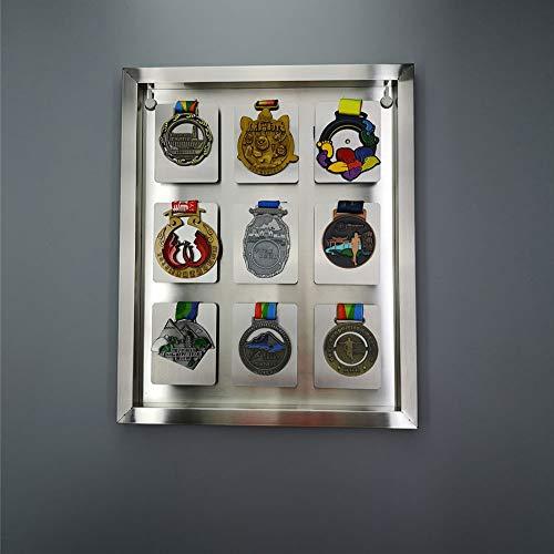 XIBALI Vitrina de Acero Inoxidable,para medallas Militares,Insignias,Colecciones de exhibición de medallas,Textura de Metal,Soldadura láser(36 * 44cm)