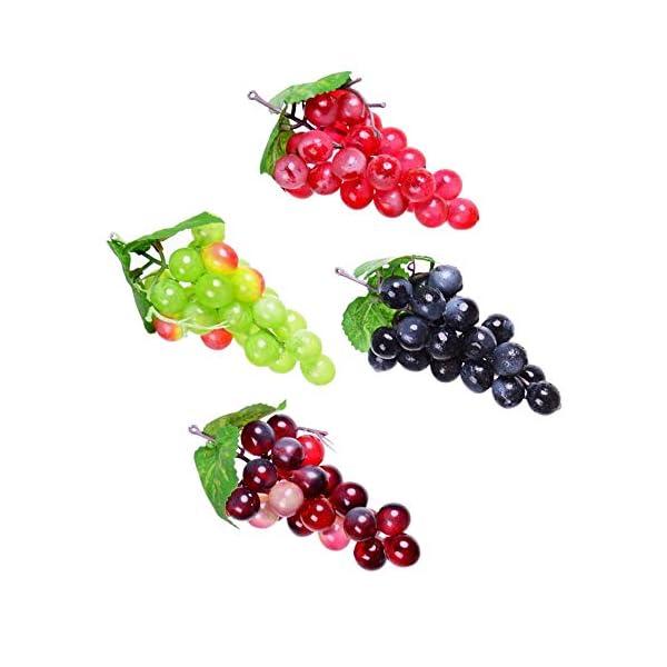 SunYard 4pcs Lifelike Artificial Grapes Plastic Fake Fruit