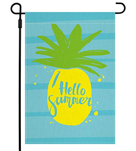 QWETRY Pineapple Hello Summer Garden Flag Double Sided Summer Yard Flag for Outside Outdoor Décor, Premium Burlap Vertical Small Rustic Flags for Farmhouse Lawn Flags 12.5x18 Inch