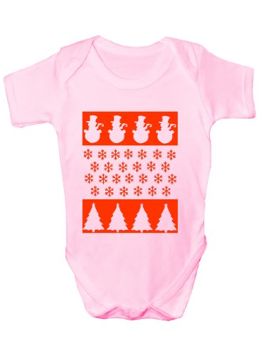 Scène de Noël/bonhomme de neige Funny Cadeau de Noël Body pour bébé fille/garçon Gilet - Rose -