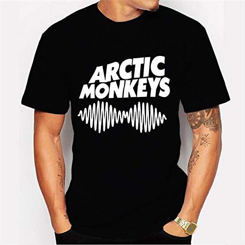 Weike 2020 Impresión simple y elegante punk camisa de hombre monos letra impresión tendencia camiseta (color: negro, talla: S)