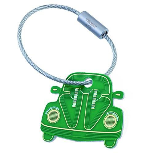 TROIKA E-kevers - KR18-09/GR - sleutelhanger in printplaat-look - Volkswagen, Kever, Cultauto - aluminium - mat - bedrukt - groen - TROIKA-origineel