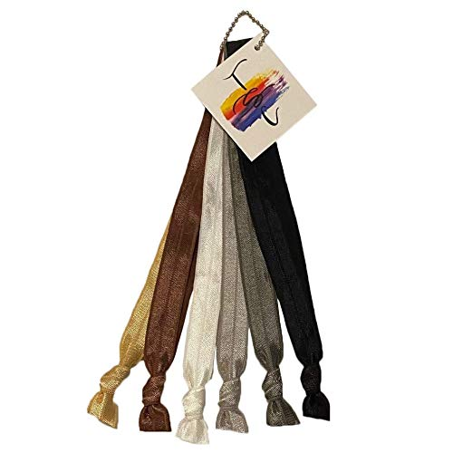 Neutral No Crease Stretch Elastic Headband Hair Ties by THIS SEASON'S COLORS; 5/8' Wide, Adjustable size; Set of 6: White, Tan, Brown, Gray, Charcoal and Black (Classic Headband Hair Ties)