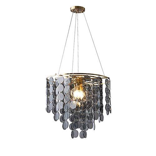 Lámpara de araña moderna contemporánea mediados del siglo iluminación 20 pulgadas de ancho 6 luminosas lámparas de techo luminosas Smoky Grey Gla pantalla E14 lámpara colgante decorativa gris humo