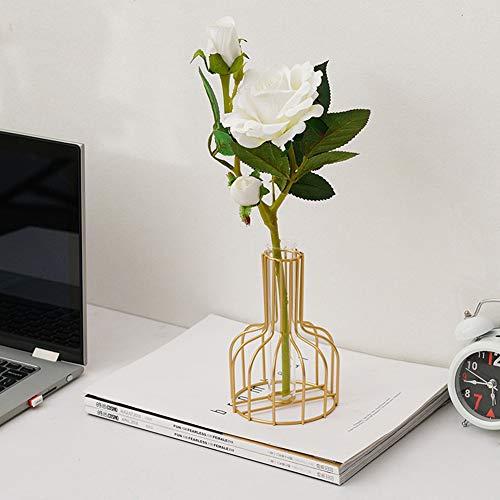 Ewer - Caja de metal con marco para flores, tubos de ensayo con soporte de metal para flores, jarrones de ensayo, centro de cristal, para plantas hidropónicas, decoración del hogar y jardín, Hierro forjado, vidrio, 1 unidad., 5.9x3.9inch