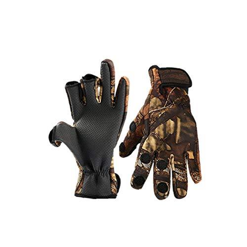 Winter Outdoor Handschuhe 3 Cut Finger Sport-Handschuhe Angeln Handschuhe Wasserdicht Winddicht Anti-rutsch-fäustling XL (Tarnung) 2st