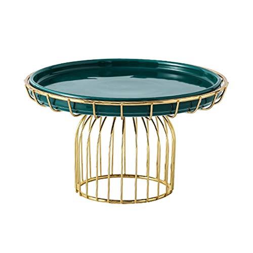 JISHIYU Bandeja de pasteles de cerámica con marco de hierro, soporte de pastel reutilizable, plato de servir multifuncional, soporte para pasteles, ensalada, plato, bollo, plato de desierto, placa de
