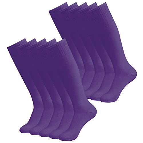 diwollsam Unisex Fußballsocken Sport Long Tube Kniestrümpfe Fußball Volleyball Team Uniform Socken 2/6/10 Paar -  Violett -  Large