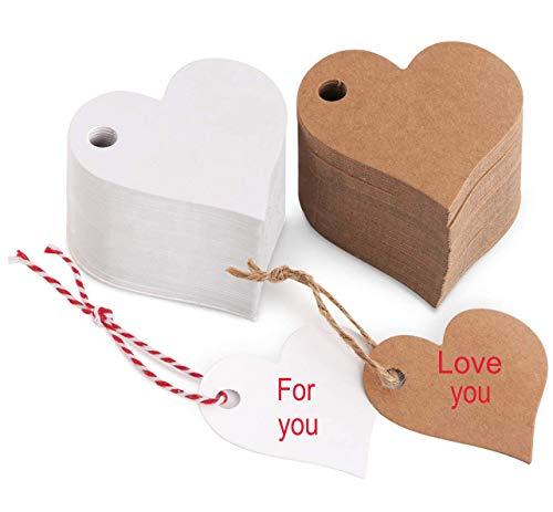 Etiquetas Kraft Corazon, 200 Piezas Papel Kraft Etiquetas para Etiquetas de Favor de Bodas, cumpleaños y Navidad,Etiquetas...