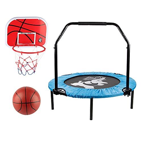 Cama elástica de interior y exterior para niños, diámetro de 100 cm, con juego de baloncesto, pequeño, estable y silencioso, juego completo