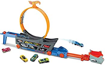 Hot Wheels Transporter Truck Mobile Play Set Large Loop Collapsible Launcher Room for 18 Die-Cast 1 16 Vehicles Ages 3 and Up