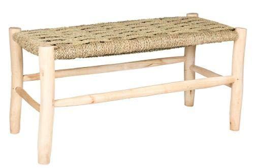 MAISON ANDALUZ Großer Standard Marokkanischer Bastelhocker, handgefertigt aus Weidenseil und natürlichem Lorbeerholz – B 40 L 80 H 40 cm Bank
