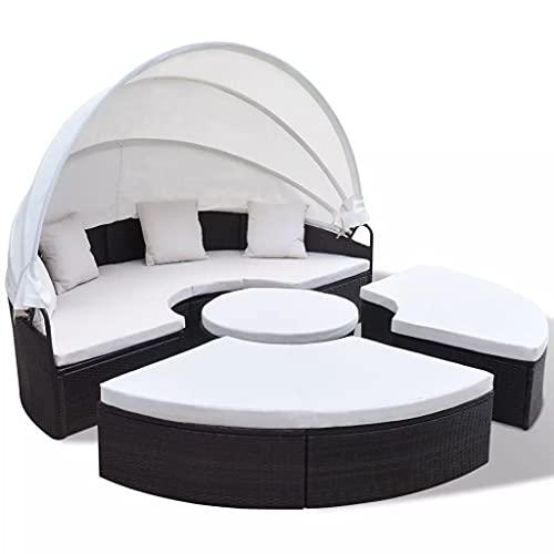 Wealthgirl Muebles de Patio, sofá seccional Modular Redondo para Exterior con Dosel retráctil, Juego de sofá seccional de Mimbre de Mimbre PE para césped, jardín, Patio Trasero, Piscina