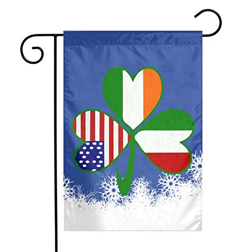 CbLLS1 Italian Irish American Shamrock Garden Flag Weather Resistant Family Party Flag - Only One Side - 12' x 18'