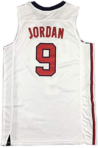 PENGC Jordan #9 USA Dream Team Basketball Jersey for Adults (S-XXL) Red White (White, L)
