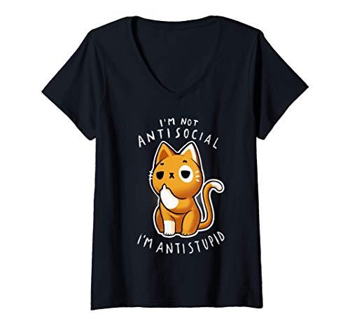 Mujer Gato Sarcástico Antisocial Camiseta Cuello V